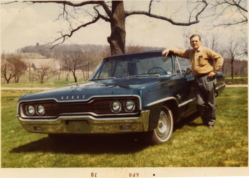 Grandpa Henry with 1966 Dodge Monaco in 1970 in Kunkletown, Pennsylvania