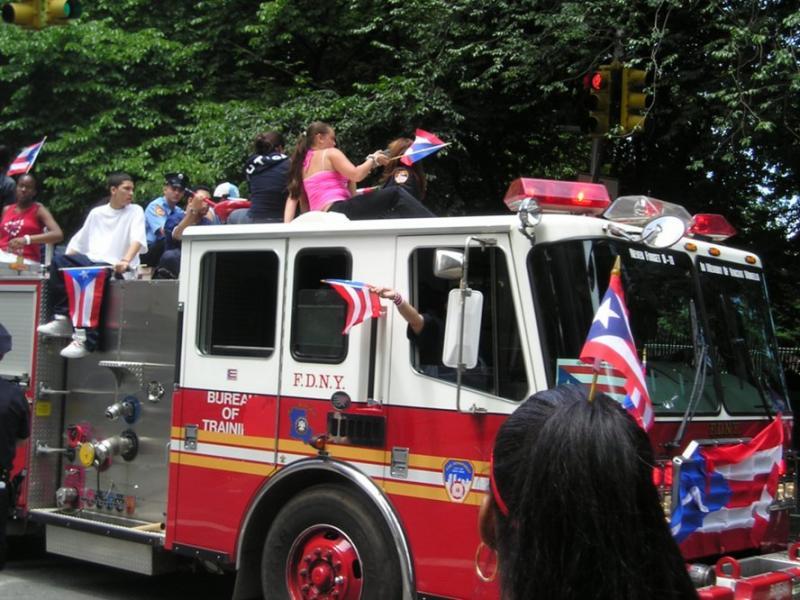Puerto Rican day parade firetruck