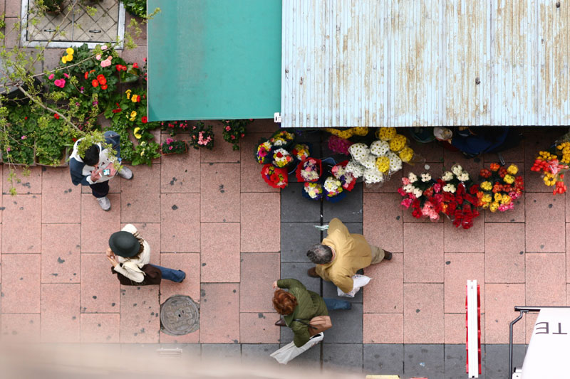 Looking down - flower stall