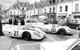 Gulf Porsche 917s outside the   Hotel de France 1970