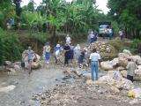 all team members to cross the creek and walk rest of the way to the church