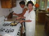 Martha cooking scrambled eggs
