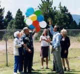 Steve's family releasing balloons at his Westwood memorial