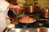 Cooking the piperade
