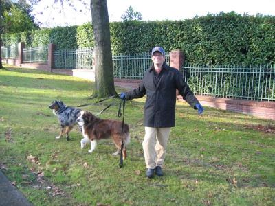 Charlie and his dogs