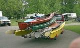 A trailer full of boats
