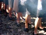 women's feet at the procesion, antigua, guatemala
