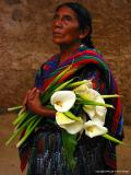 grandmother with callas, antigua, guatemala