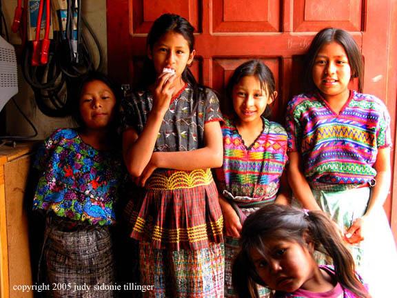 girls of santa maria de jesus, guatemala