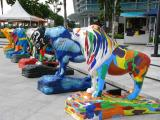 Colourful lions