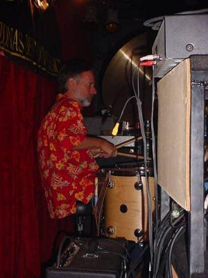 backstage <br> Joe on drums