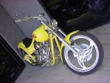 beautiful custom yellow motorcycle