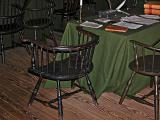 Chair reserved for Ben Franklin during the Constitutional Convention, 1787