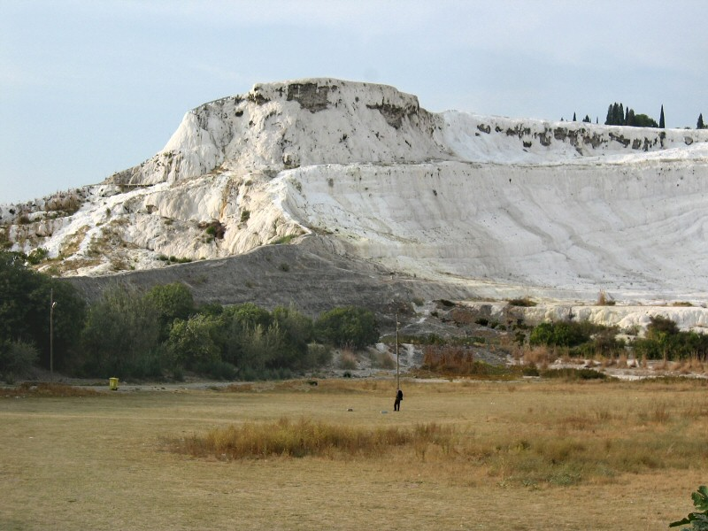 Our first view of Pamukkale and its white cotton cliff