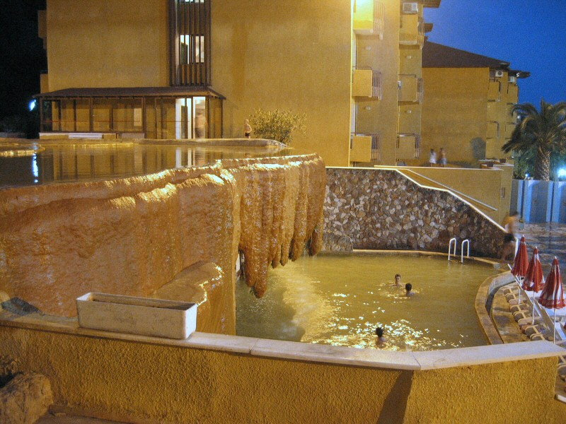 Our hotels own warm calcium terrace-pools, water transported from the mountain.  Decadent  :-)