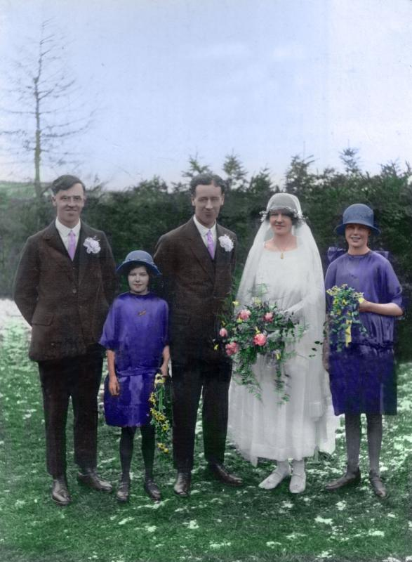 Grand Parents Wedding Coloured and repaired