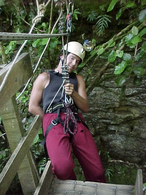 abseiling in practice, in a 36 meters deep cave