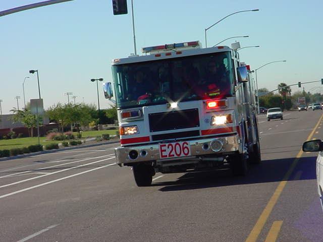 firetruck racing east <br> on McKellips road
