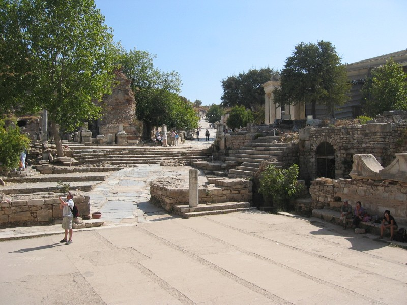 From the library steps, looking toward Curetes Street