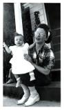 Mom on porch with Mary, 1950 (231)