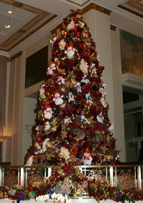 One of Two Large Christmas Trees in the Entrance Lobby - Waldorf Astoria Hotel