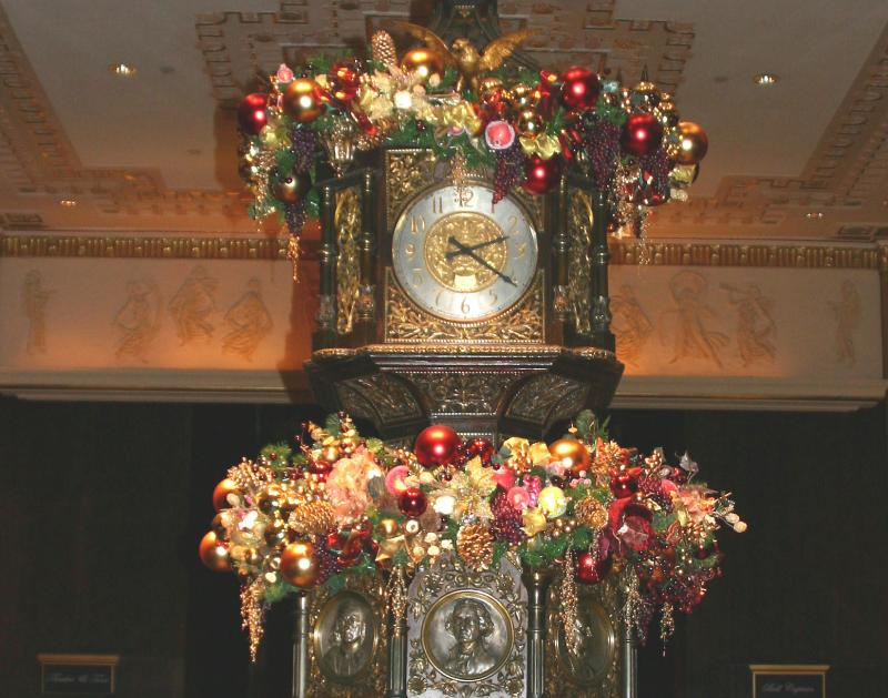 Main Lobby Clock Decorations - Waldorf Astoria Hotel Lobby
