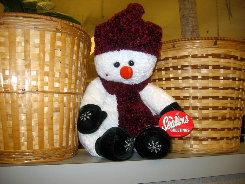 Snowman Doll and Potted Plants at Morton Williams Grocery Store