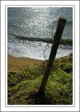 Fence post and sea, Hive beach, West Dorset