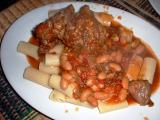 lamb cassoulet with sundried tomatoes, cannelini, mushrooms over rigatoni