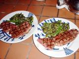 blade steaks and broccoli rapini