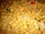sauteed corn with jalapeno (red and green) and onions