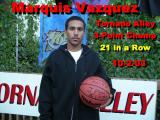 Marquis Vazquez's Record of 21 3-Pointers in a row