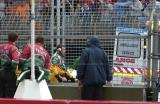 Adrian Fernandez on the stretcher after the horror crash