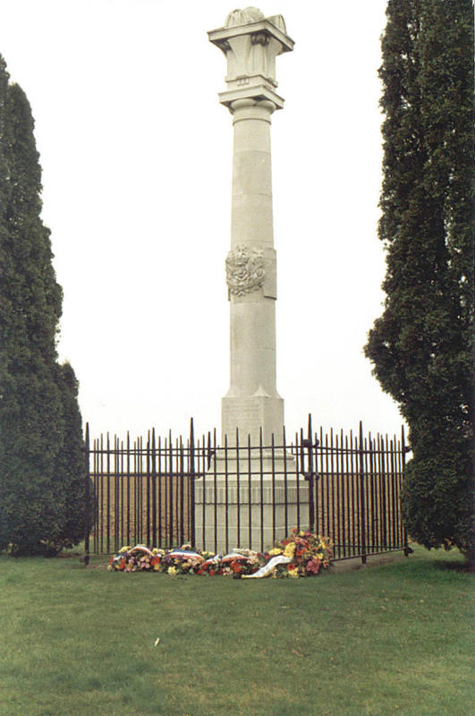 Flowers from the French and Germans at the Loyal North Lancs Memorial:  Cerny, Chemin des Dames. France