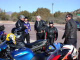 Chatting before the next leg of the ride