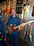 Sr. Master Builder Mark Kendrick displays Clarence Whites original Telecaster