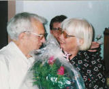 With his daughter, Janet Flick, at Mary Lou's birthday celebration