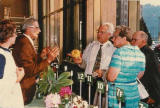 1973 ARS convention, Pittsburgh PA. L-R: ??, Dr Robert Ticknor (?), Augie, Betty Hager (?), ??