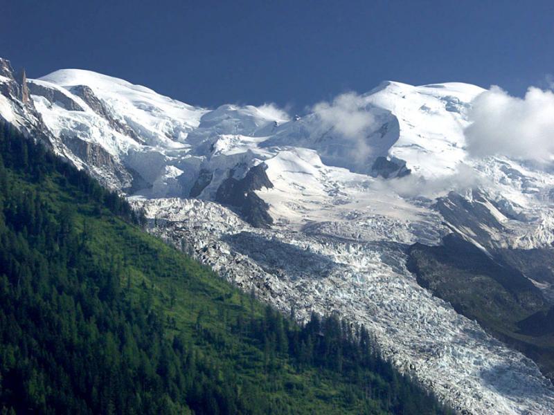 Mont Blanc et glacier des Bossons