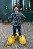 Trying onwooden shoes
