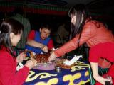 Grace and our new found friends from Guangzhou struggling over some lamb ribs.