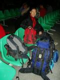 Liu Fang with our luggage. We are the only 2 people in our group to make our way back from Xining by train.