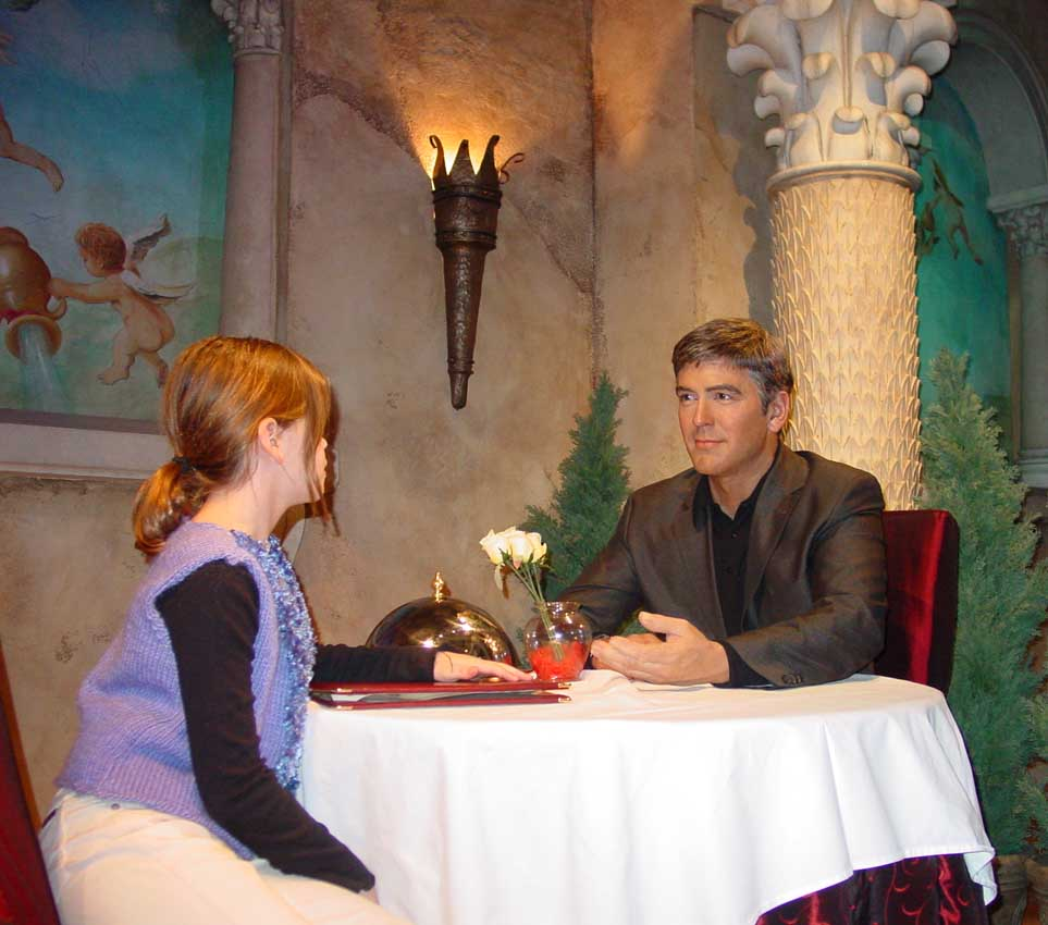 Miranda meets George Clooney at the wax museum