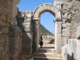 Past little theater to courtyard in Rhodian Peristyle (temenos)