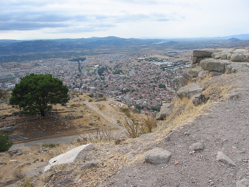 Near the entrance to the upper acropolis.<br>Great view of the city below