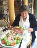 Enormous salads at a café at Place Monge