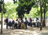 Playing cards in the Luxembourg Gardens