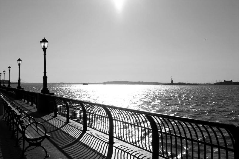 Hudson River Promenade with Statue of Liberty and Verrazano Bridge on the Distant Horizon