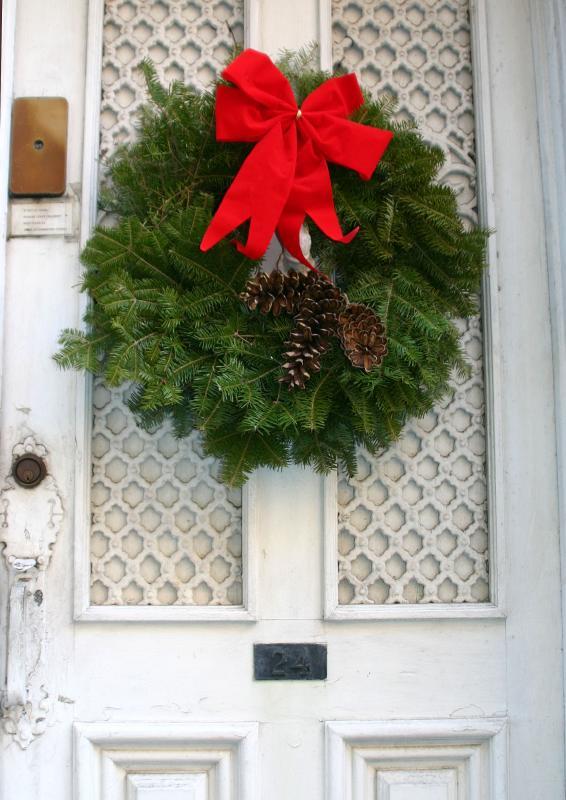 Commerce Street Door with Xmas Wreath