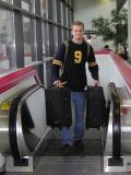 Tim arrives at Raleigh-Durham International Airport  03/10/2002